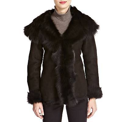 Shearling Boutique Black Quilted Lambs Leather Sheepskin Biker Jacket S XL £800