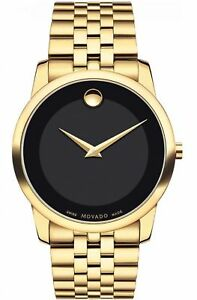 NEW-Movado-Museum-Classic-Swiss-Sapphire-Black-Dial-Gold-Tone-Mens-Watch-0606997