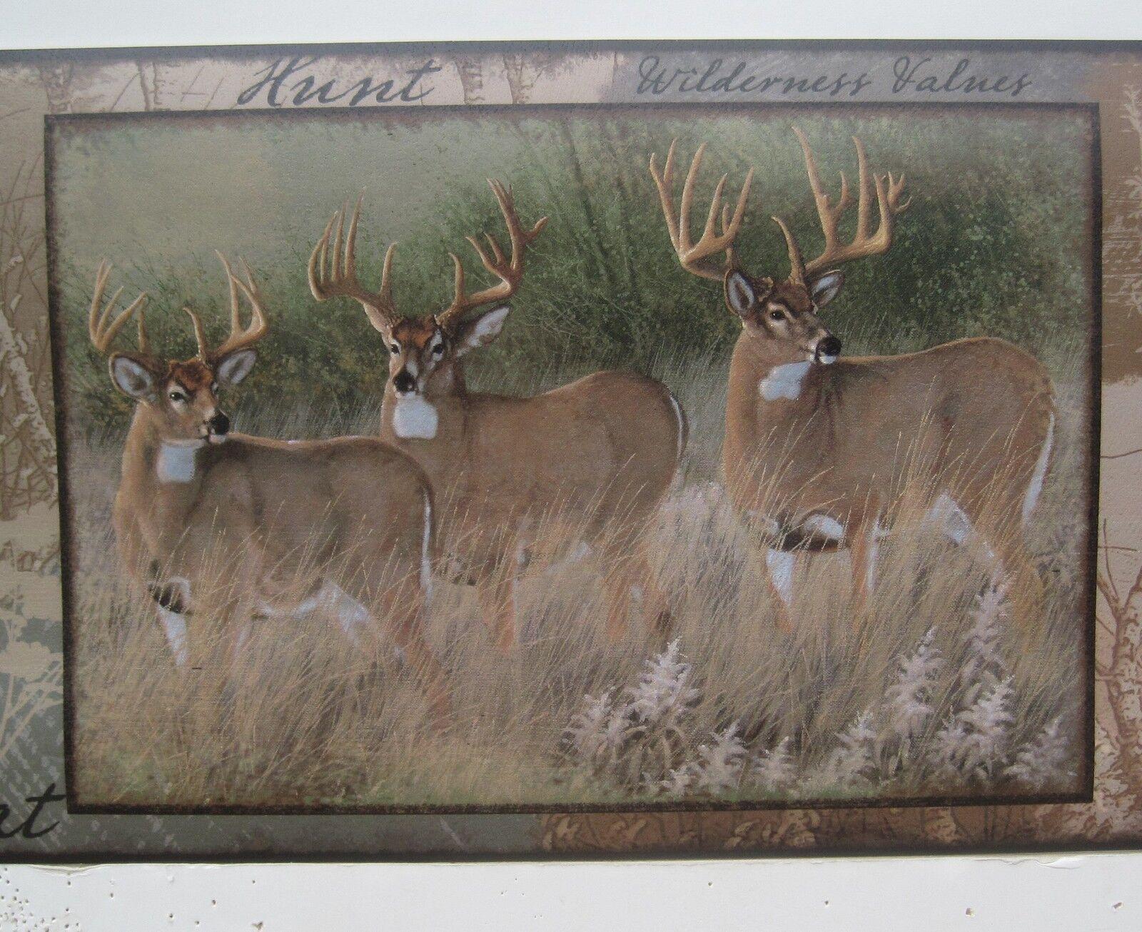 Deer Doe And Buck Hunting Wallpaper Border 8 1 2 For Sale Online Ebay
