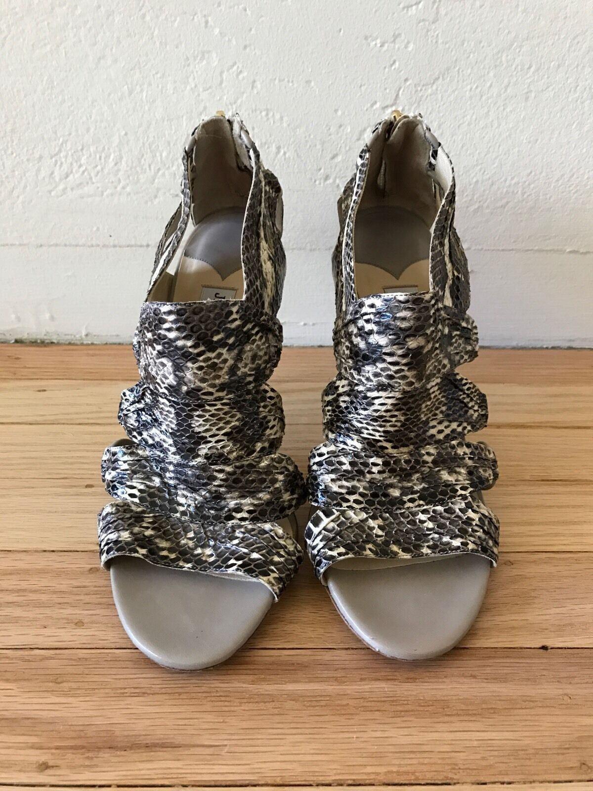 JIMMY CHOO Snake Skin Strappy Open Toes Heeled Sandal AUTHENTIC Size 40   10