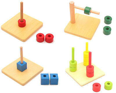 Set of 4 Wooden Toys NEW Montessori Infant Toddler Material