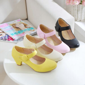 Ladies-Mary-Janes-Shoes-Synthetic-Leather-Block-Med-Heels-Pumps-US4-5-US10-5