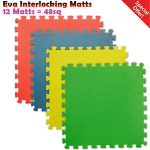 48-SQ-FT-Interlocking-EVA-Foam-Floor-Matts-Gym-Exercise-Kids-Play-Garage-House