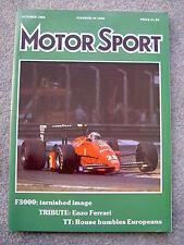 Motor Sport (Oct 1988) Enzo Ferrari,Corvette, Panther Kallista, Italy,Belgium GP