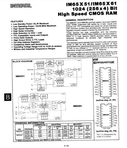 Intersil IM65X61CJN 256x4 CMOS RAM 18 pin DIL IM65X61 1M65X61 ceramic