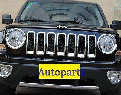 Headlight Head Lamp Rims cover 9PC Jeep Patriot 2011-2017 Chrome Grille  Frame