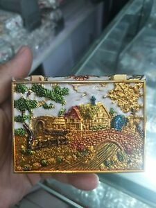 CHINESE-COLLECTABLE-CLOISONNE-HANDWORK-BEAUTIFUL-FLOWERS-JEWELRY-BOX