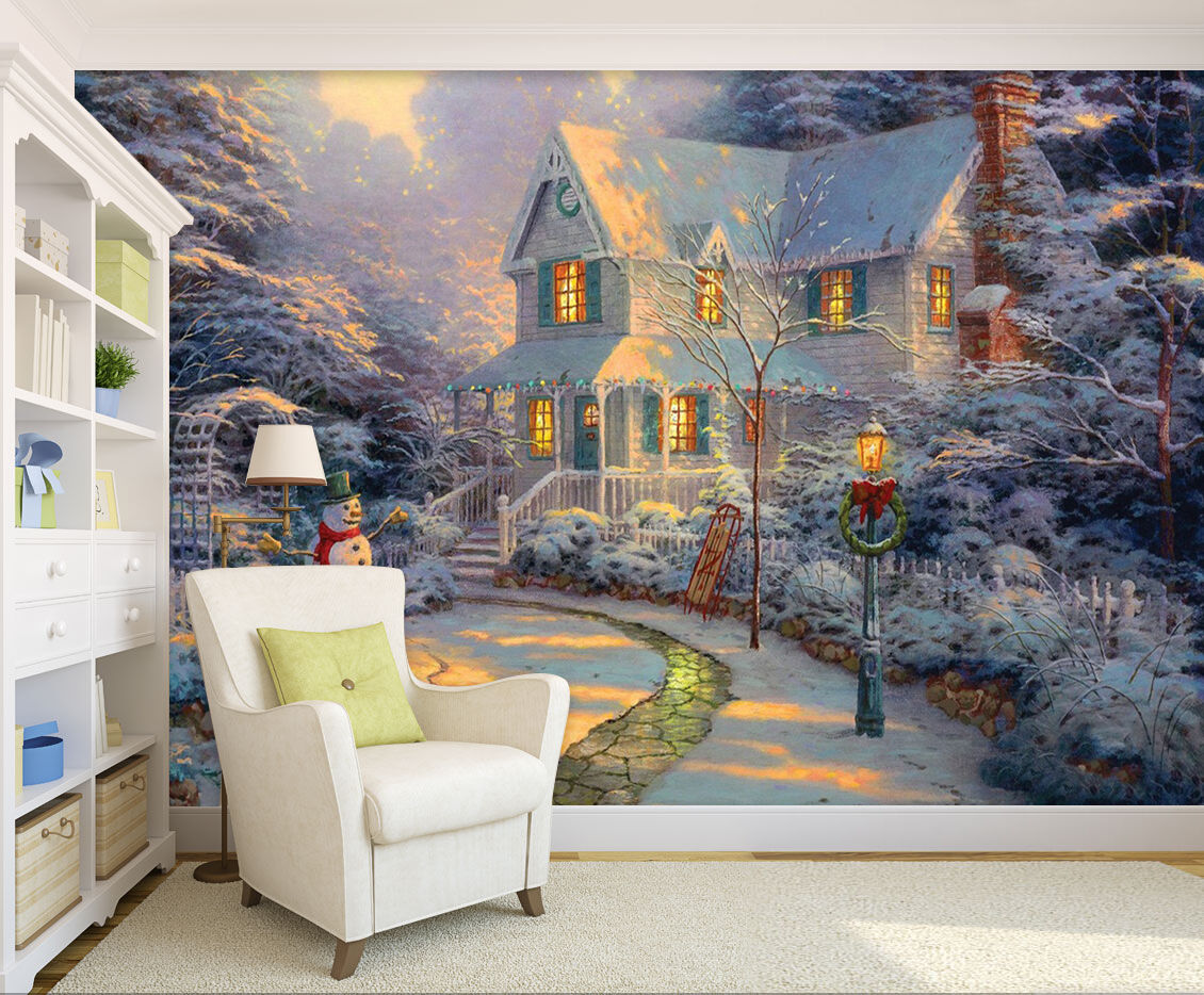 3D snowman house light  Wall Paper wall Print Decal Wall Deco Indoor wall Mural