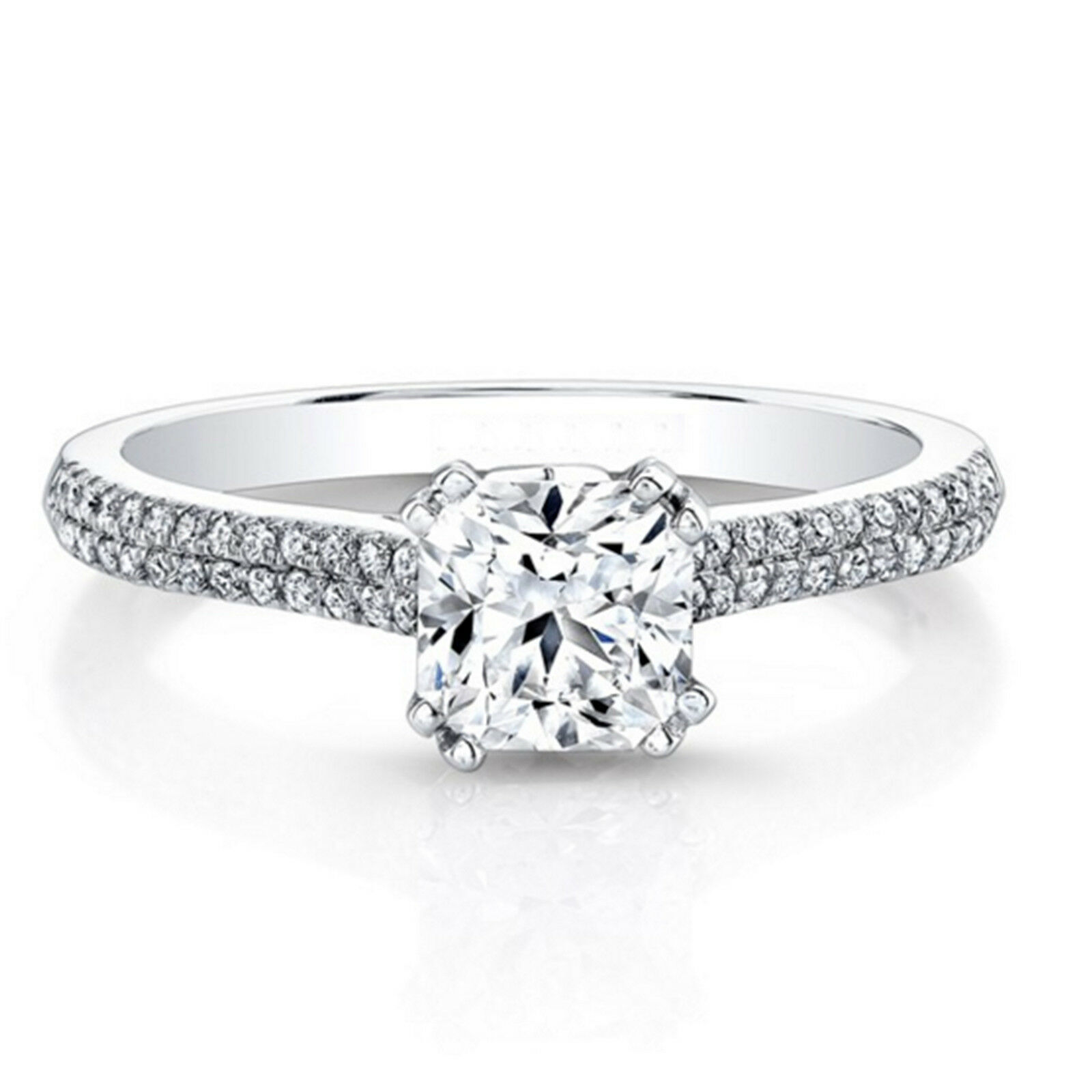0.61 Ct Cushion Real Diamond Engagement Rings 14K Solid White gold Size 5.5 6 7