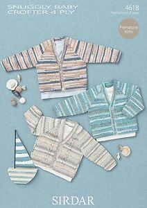 b870767bd87e Sirdar 4618 Knitting Pattern Cardigans in Sirdar Snuggly Baby ...