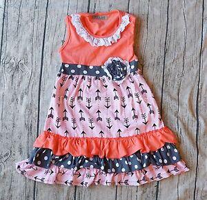 NEW-BOUTIQUE-RUFFLE-DRESS-BOWS-POLKA-DOT-LACE-PEACH-Pink-Black-Ruffles-Size-5