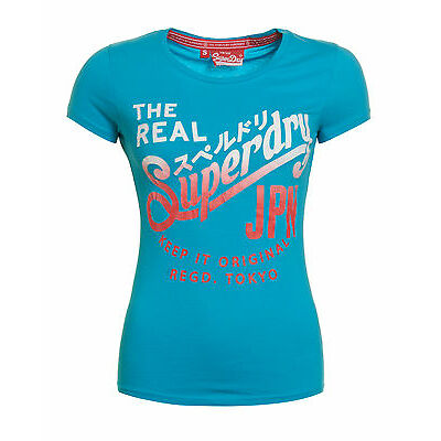 Superdry Mujer Camiseta Keep It Entry Fluro Azul