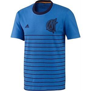 Adidas-Real-Madrid-Retro-T-Shirt-Jersey-Blu-Girocollo-UOMO-Raro-Estate-Maglietta
