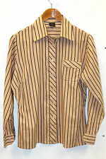 Vintage 80s Womens Shirt Cotton Striped LA KERKO Brown Geek Tailored Secretary