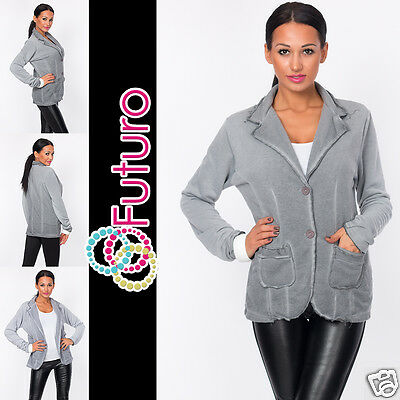 Ladies Jacket With Buttons & Pockets Long Sleeve Blazer Coat Size 8-12 Ft1446 Bequemes GefüHl