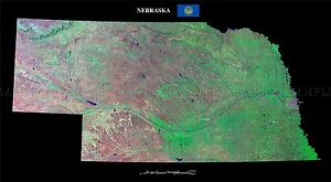 MAP-COUNTY-SATELLITE-USA-STATE-FLAG-NEBRASKA-LARGE-REPLICA-POSTER-PRINT-PAM1383