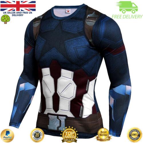 Mens compression top gym superhero crossfit marvel muscle Captain america