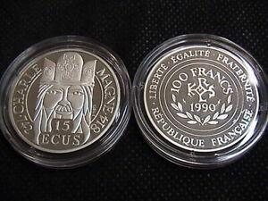 Francia-1990-moneta-da-100-Franchi-15-ECU-in-argento-Carlo-Magno-FS-BE-PP