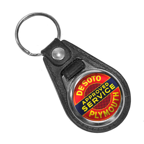 Plymouth Dodge Mopar DeSoto Mopar Approved Service Round Faux Leather Key Ring