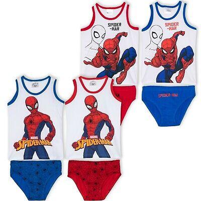 Boys Kids Childrens Batman Spiderman Vest Pants Set Size 2 3 4 5 6 7 8 Years Briefs Underwear