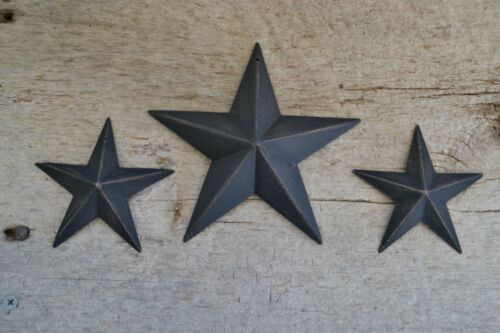 "3.5/"" BLACK BARN STAR Metal Tin Primitive Country 5 1//2/"" 3 1//2/"" Set of 3 ~ 5.5/"""
