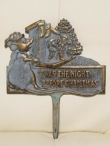 Solid-Brass-Yard-Stake-Twas-The-Night-Before-Christmas-Mouse-green-patina