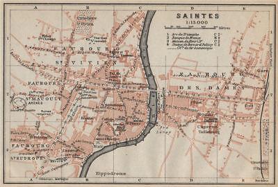 2019 Fashion Saintes Antique Town City Plan De La Ville. Charente-maritime Carte 1914 Map