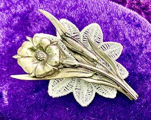 Gran artes y artesanías ATQ/Plata Esterlina estética Floral Broche/Pin. HM 1920