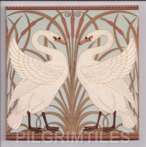 Arts /& crafts walter crane cygnes carrelage cheminée cuisine bleu pastel vert