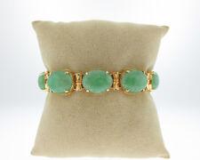 "Handmade Vintage Estate Green Jadeite Jades Solid 14k Yellow Gold 6.5"" Bracelet"