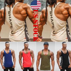 LOT MEN GYM VEST BODYBUILDING MUSCLE STRINGER PLAIN VEST RACER BACK GYM CLOTHING