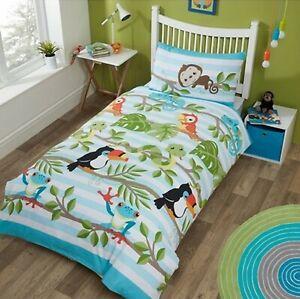 Childrens-Duvet-Cover-Single-Cotton-Blue-Bedding-Set-Rainforest-Animals-Bedset