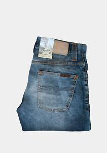 27967 Nudie Jeans Grim Tim Used Blackcoated Bleu Hommes Jean En Taille 30/34