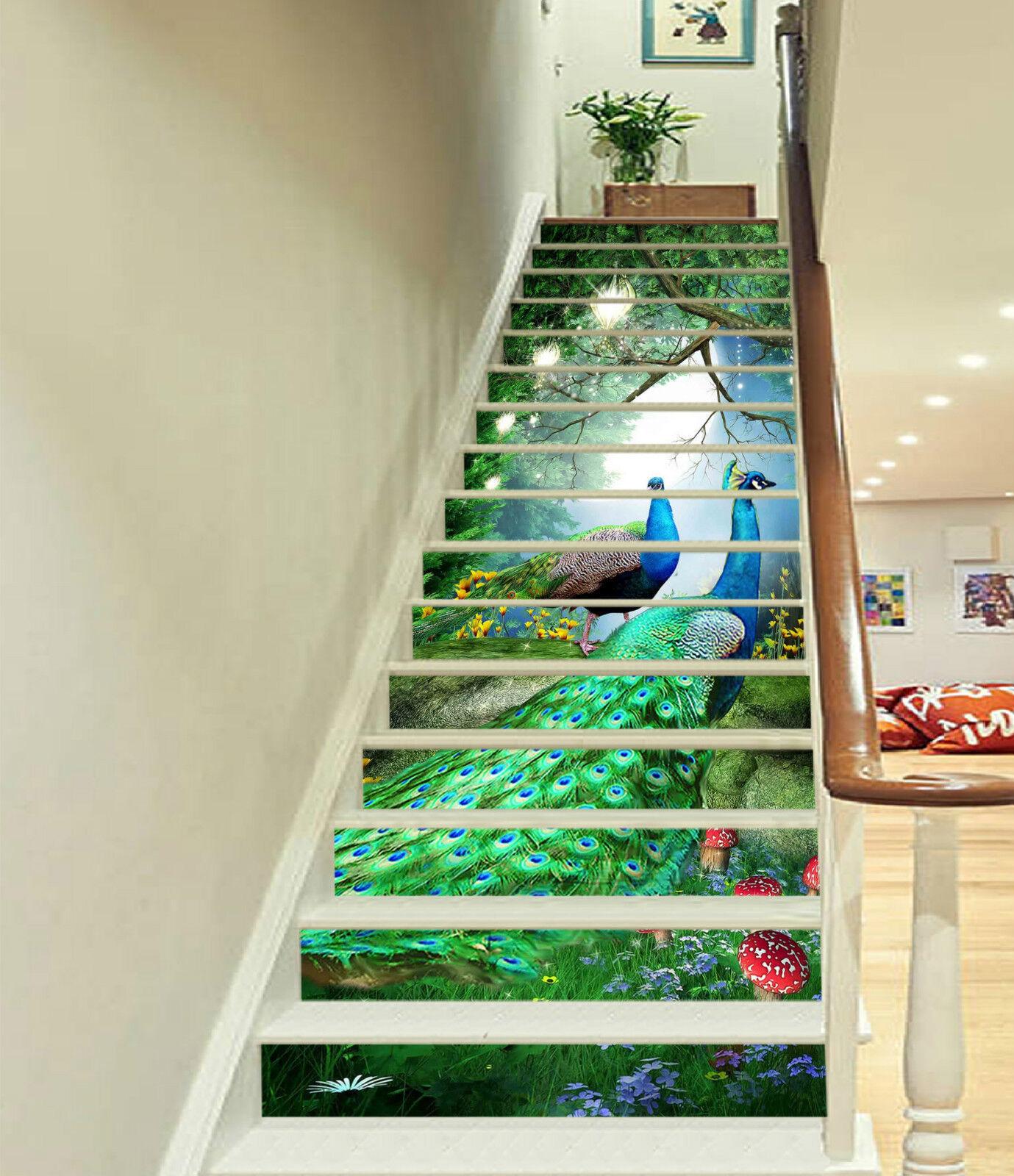 3D Schöner Pfau 217 Stair Risers Dekoration Fototapete Vinyl Aufkleber Tapete DE
