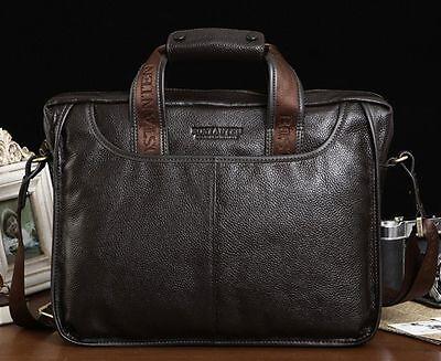 """Genuine Leather Mens Briefcase Handbag Shoulder Messenger 14"""" Laptop BAG 10023"""