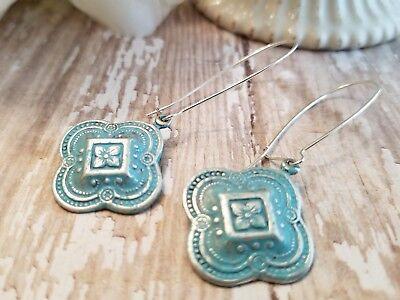 Copper Dangle Earrings Teal Aqua Blue Czech Glass Leverbacks