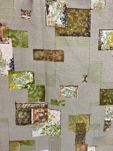 Vintage-Barkcloth-Fabric-Curtain-Panel-Abstract-Squares-Beige-Tan-Cutter