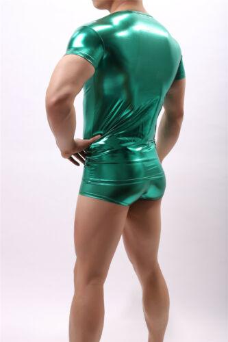 Men/'s en cuir synthétique brillant T-shirt sous-vêtement Muscle brillant wetlook Shirt Top Court