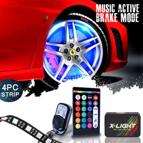 Wheel Well LED Light Kit Custom Accent Neon Strips Rim Tire Set w Brake Mode