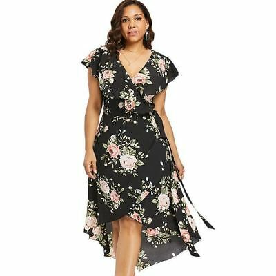 Women Plus Size V Collar Short Sleeve Floral Pattern High Low Dress | eBay