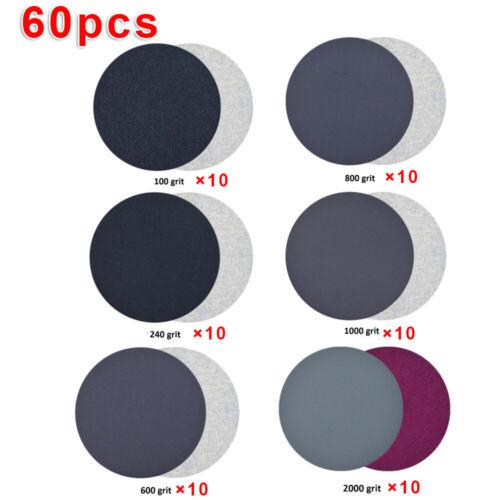 60pcs Orbital Sandpaper Set Hook Loop 100 240 600 800 1000 2000 Grit Sander Pads