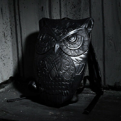 ByTheR R-90 Owl Embossing Backpack Dark Gothic Carving Style Bags P000BEOY CA