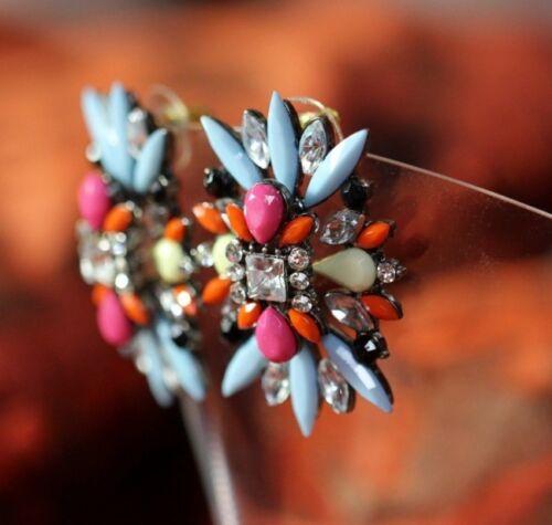 Boucles d/'Oreilles Clips Groose Bleu Rose Jaune Retro Soirée Mariage Cadeau B1