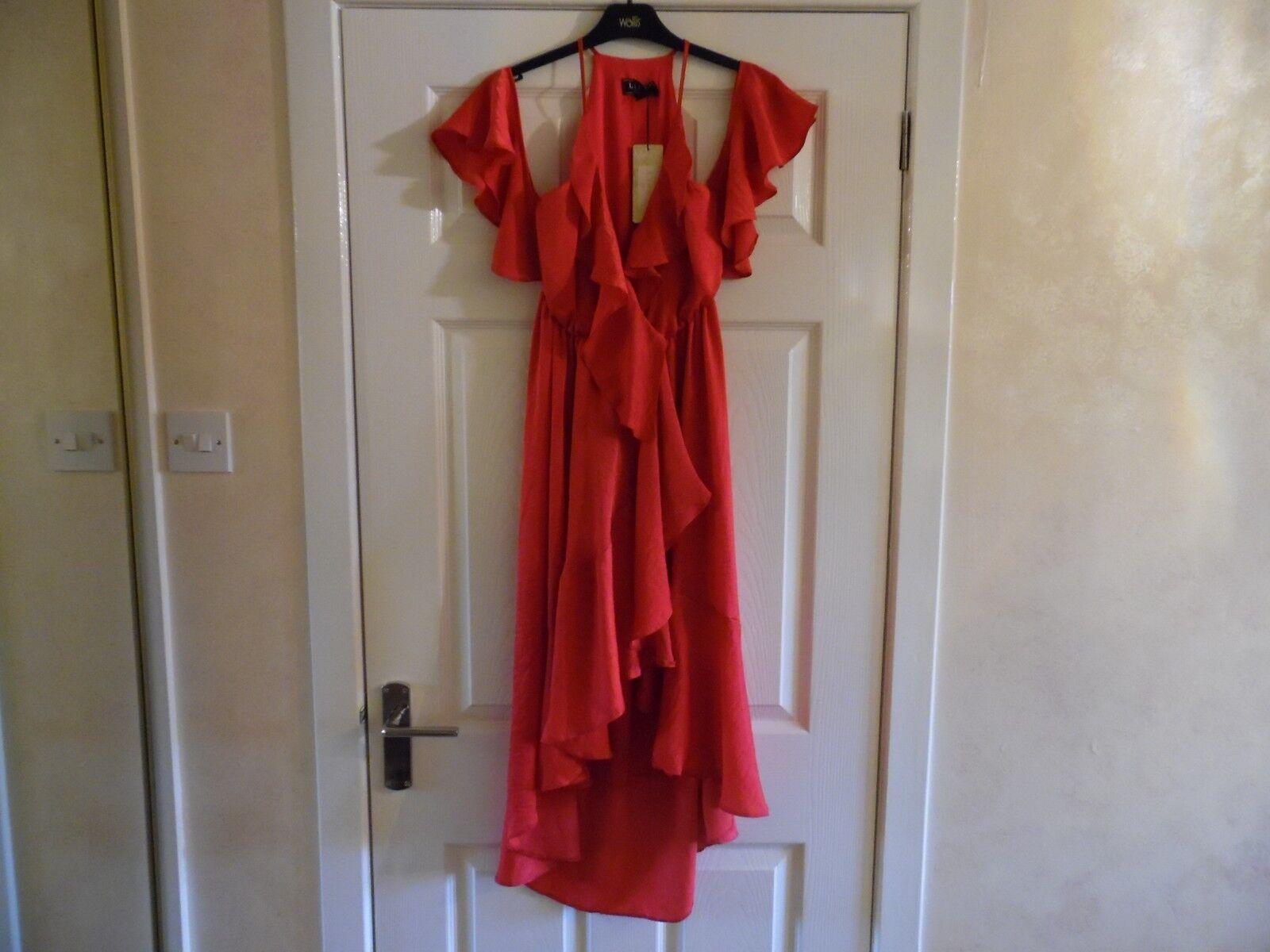 NEW  LIPSY FUSHIA RUFFLE COLD SHOULDER DRESS SIZE 8 - RRP  - BNWT
