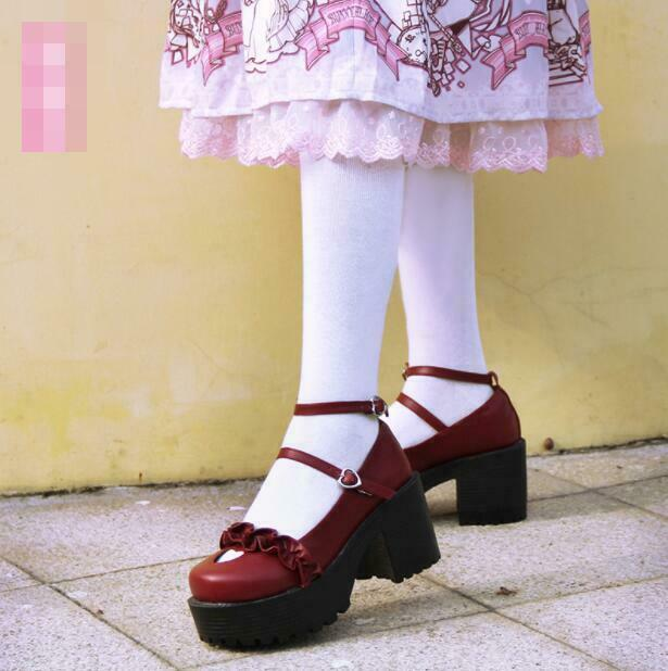 donna Platform Heat Block Heels Lolita Mary Jane Girl Sweet Buckle Party scarpe