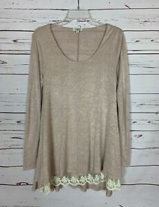 Umgee-Boutique-Women-039-s-S-Small-Tan-Beige-Ivory-Lace-Cute-Fall-Tunic-Top-Shirt