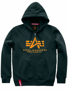 Details about Alpha Industries Hooded Jacket Basic Zip Hoody Dark Petrol 178325 353 6118 show original title