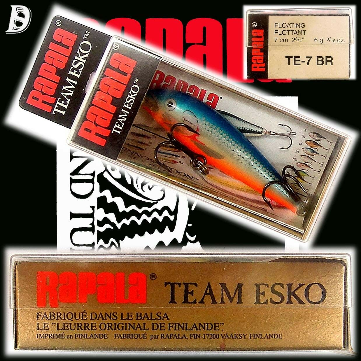 Vintage Rapala Team Esko 7cm BR Neu in Box, Made in Finnland, extrem selten