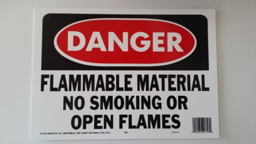 """10/""""x14/"""" DANGER FLAMMABLE MATERIAL NO SMOKING OR OPEN FLAMES Safety Sign OSHA NEW"""