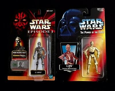 NEW LOT OF 2 KENNER 1995 STAR WARS POWER OF THE FORCE C-3PO//HAN SOLO FIGURES NEW